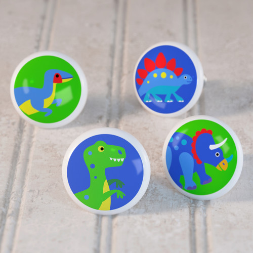 Dinosaur Land Set of 4 Small Kids Drawer Knobs - Ceramic