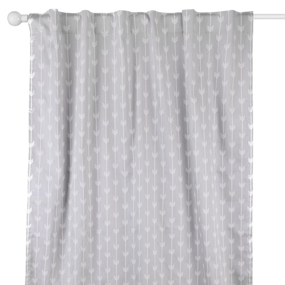 Grey Arrows Blackout Window Curtain Panel Pair