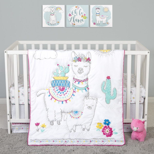 Sammy and Lou Llama Mama 4 Piece Crib Bedding Set