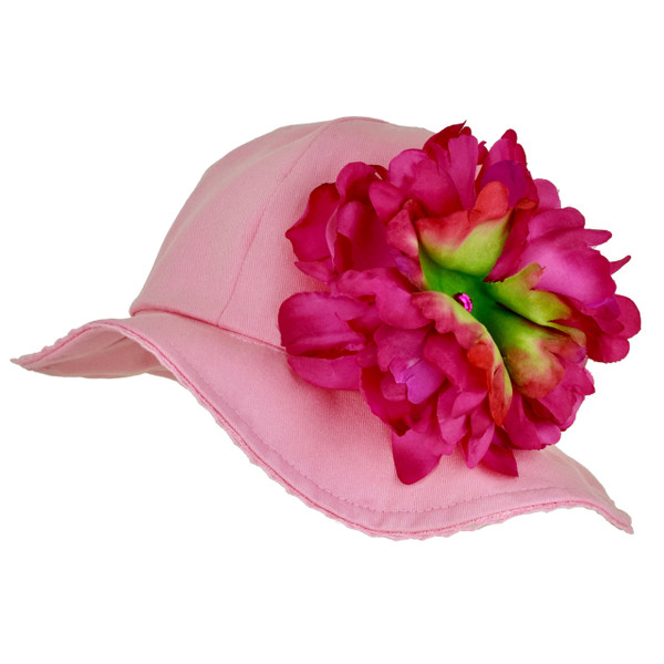 Jamie Rae Stella Candy Pink Cotton Sun Hat with Peony Applique