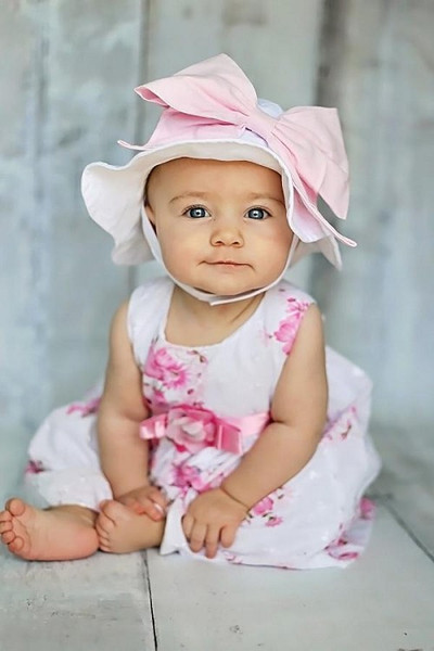 White Sun Hat with Pale Pink Bow-Rae-Mi