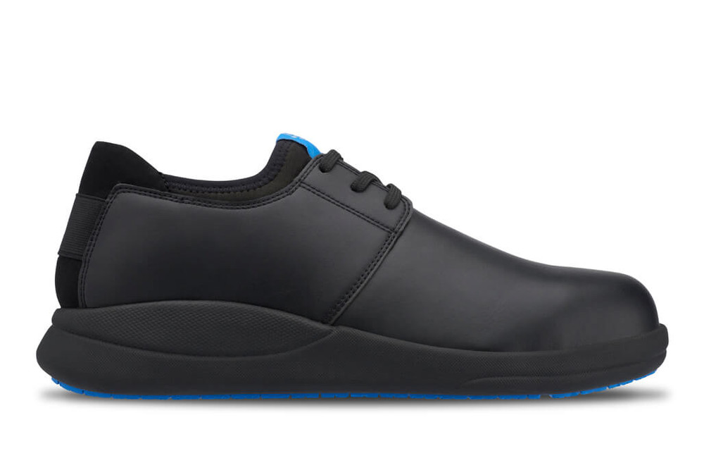 WearerTech Relieve Black Work Shoe Lace Up With Safety Toe Cap and Non Slip Sole Side View