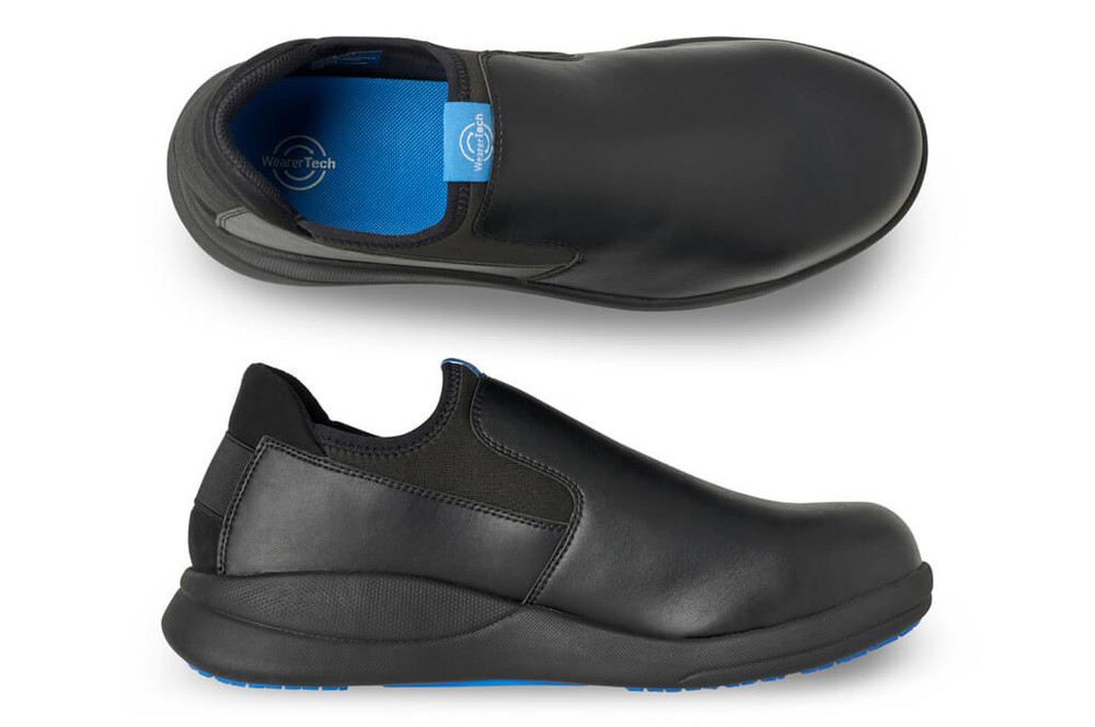 WearerTech Vitalise Black Work Shoe Slip On With Safety Toe Cap and Non Slip Sole Pair View