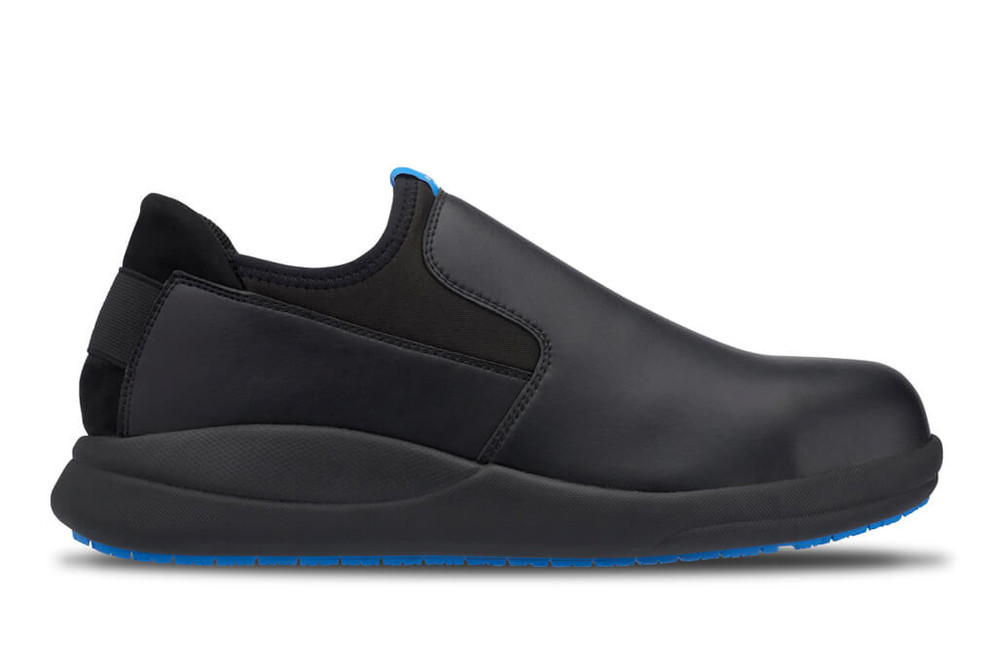 WearerTech Vitalise Black Work Shoe Slip On With Safety Toe Cap and Non Slip Sole Side View