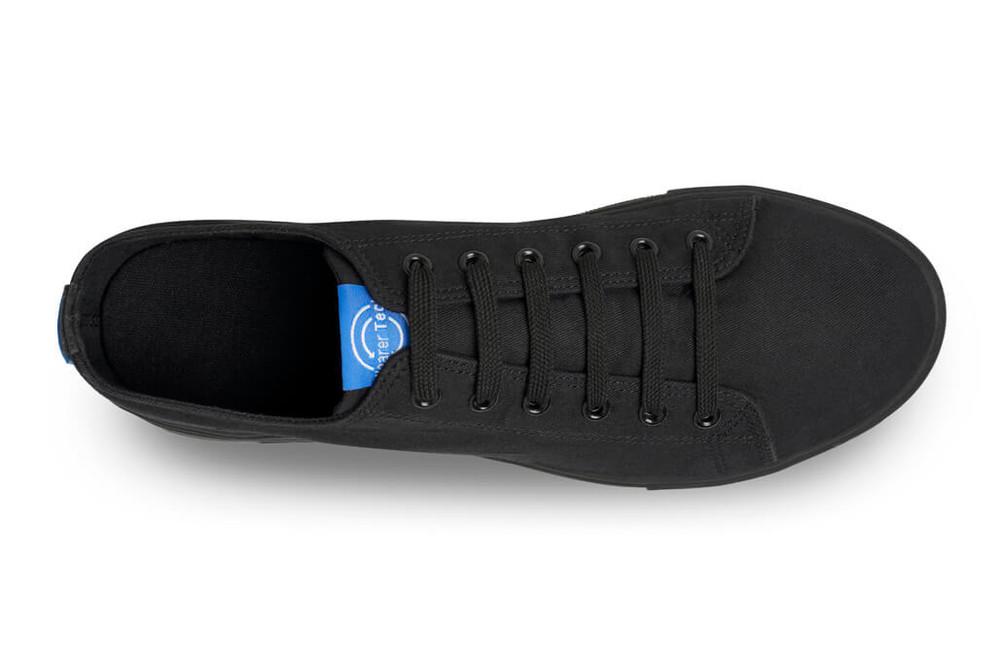 WearerTech Motivate Black Comfy Work Shoe Canvas Front of House Lace Up Shoe Non Slip Sole Top View