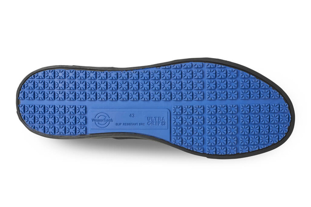 WearerTech Renew Black Comfy Work Shoe Canvas Front of House Slip On Shoe Non Slip Sole View