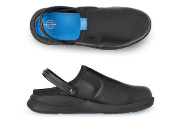 WearerTech Refresh Black Work Clog Shoe With Safety Toe Cap and Non Slip Sole Pair View