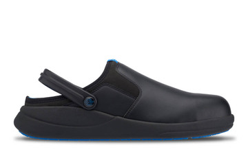 WearerTech Refresh Black Work Clog Shoe With Safety Toe Cap and Non Slip Sole Side View