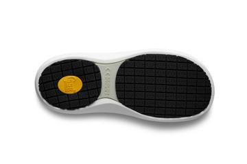 WearerTech Invigorate White Work Clog Shoe With Non Slip Sole and Heel Strap Sole View