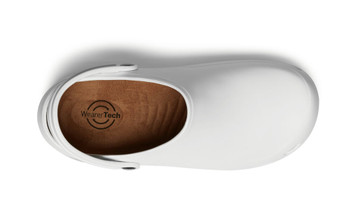 WearerTech Invigorate White Work Clog Shoe With Non Slip Sole and Heel Strap Top View