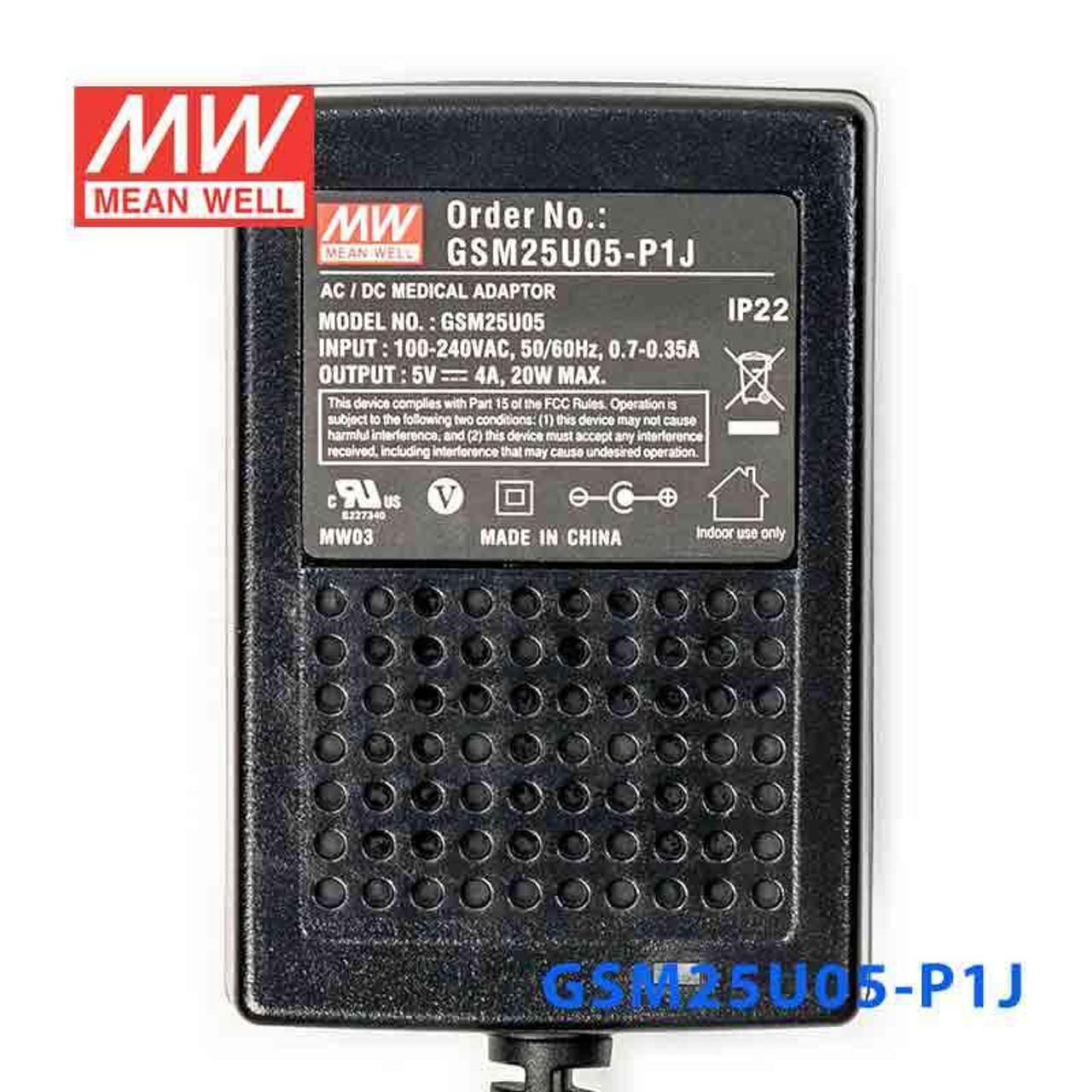 Wall Mount AC Adapters 25W 15V 1.66A Medical USA plug, GSM25U15-P1J Pack of 2