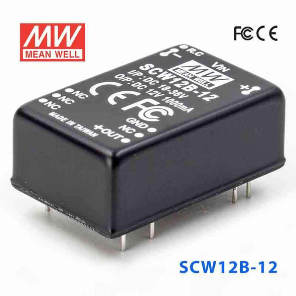 Meanwell SCW12B-12 DC-DC Converter - 12W 18~36V DC in 12V out