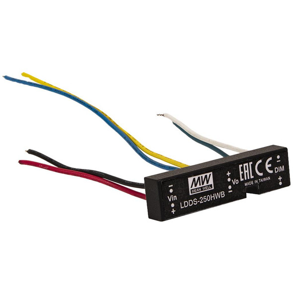 Mean Well LDDS-250HWB DC/DC LED Driver CC 250mA - Step-down Wire Type - 3 in 1 Dimmable