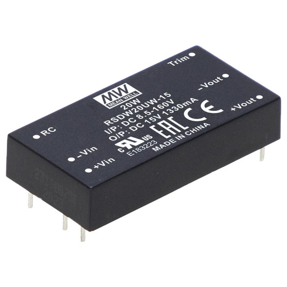Mean Well RSDW20UW-15 Ultra-wide input DC/DC LED Driver 20W 15V - Heavy Duty