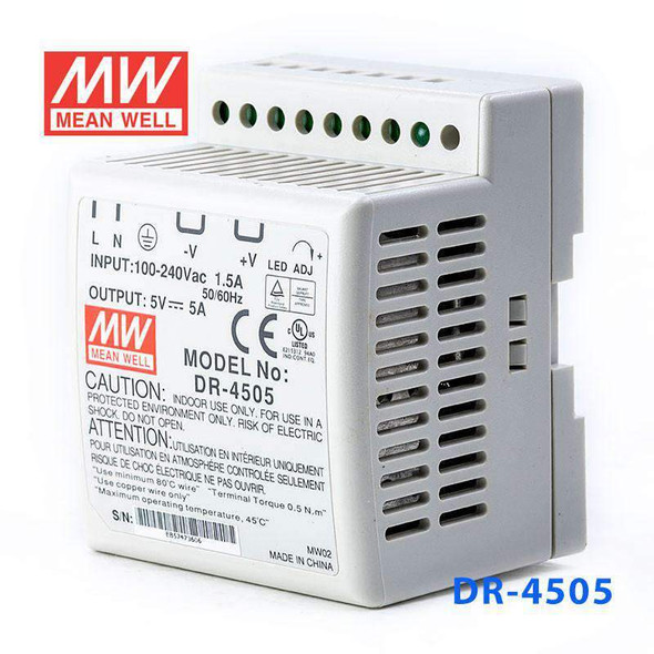 Mean Well DR-4505 AC-DC Industrial DIN rail power supply 45W