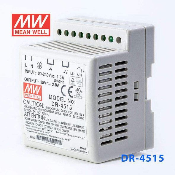 Mean Well DR-4515 AC-DC Industrial DIN rail power supply 45W