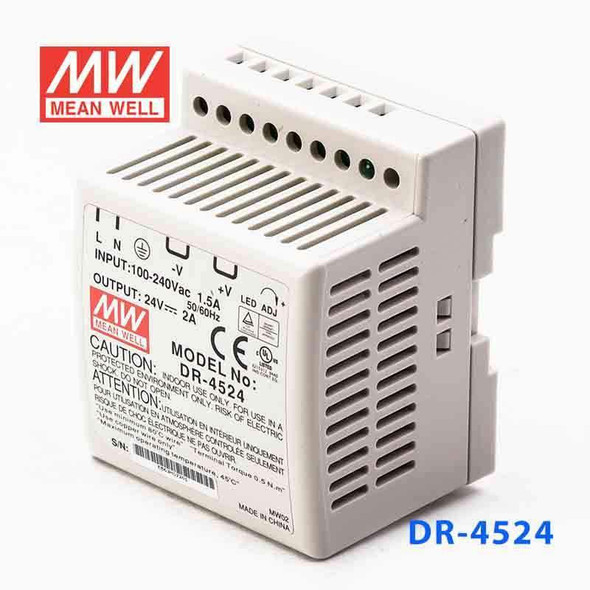 Mean Well DR-4524 AC-DC Industrial DIN rail power supply 45W