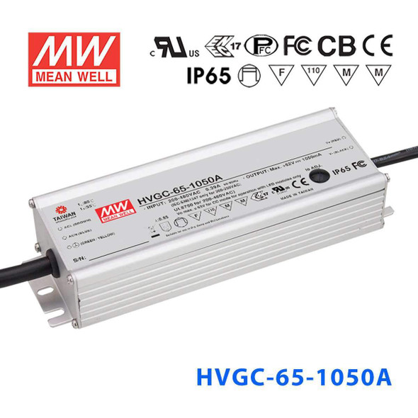 Mean Well HVGC-65-1050A Power Supply 65W 1050mA - Adjustable