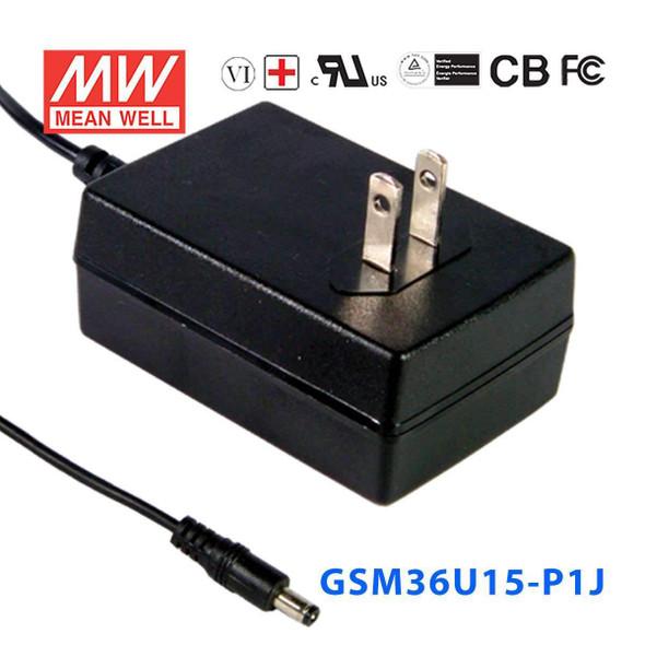 Mean Well GSM36U15-P1J Power Supply 36W 15V