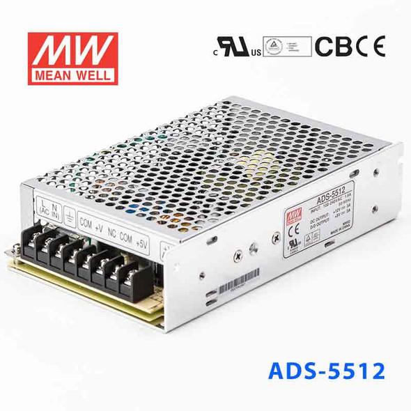 Mean Well ADS-5512 Power Supply 51W 12V 3A - 5V Output