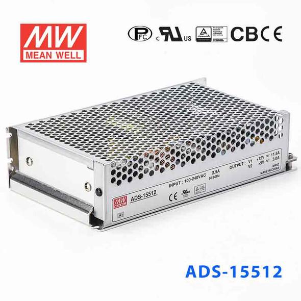 Mean Well ADS-15512 Power Supply 153W 12V 11.5A - 5V Output