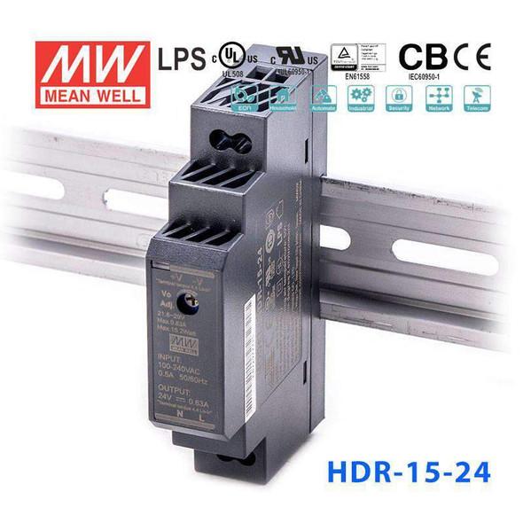 Mean Well HDR-15-24 Ultra Slim Step Shape Power Supply 15W 24V - DIN Rail
