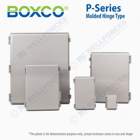 Boxco P-Series 135x155x85mm Plastic Enclosure, IP67, IK08, PC, Grey Cover, Molded Hinge and Latch Type
