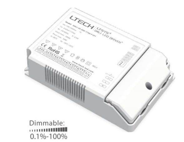 LTECH DALI-50-500-1750-F1P1 50W 500mA ~ 1750mA CC Dali LED Driver - Selectable Output