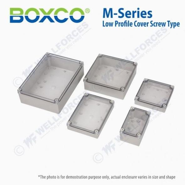 Boxco M-Series 130x130x35mm Plastic Enclosure, IP67, IK08, ABS, Transparent Cover, Screw Type