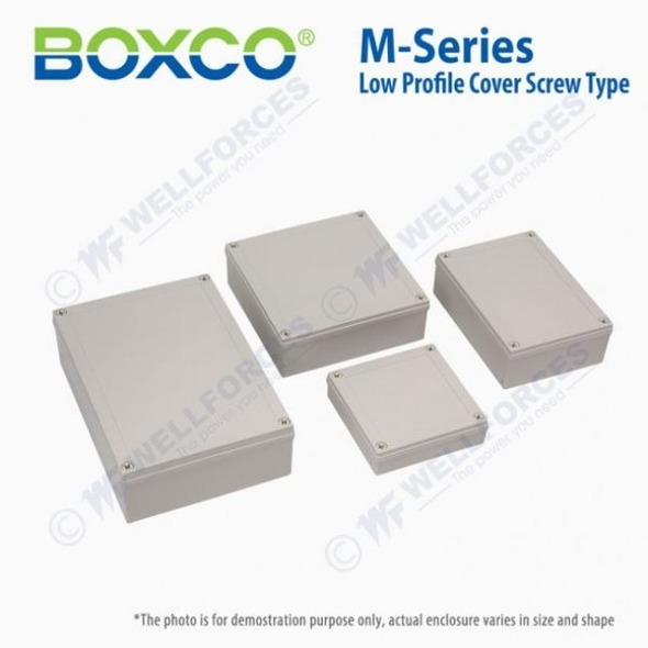 Boxco M-Series 130x130x35mm Plastic Enclosure, IP67, IK08, PC, Grey Cover, Screw Type