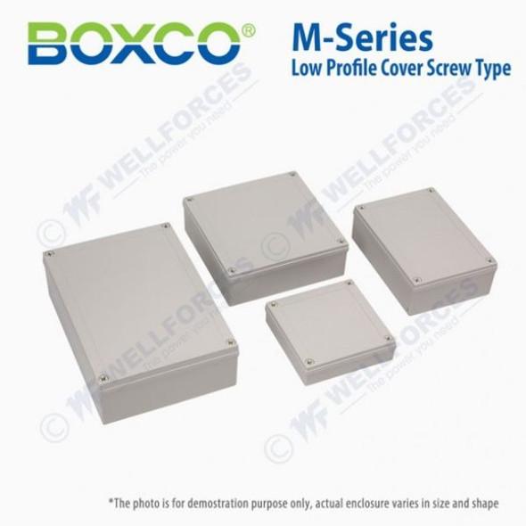 Boxco M-Series 130x130x35mm Plastic Enclosure, IP67, IK08, PC, Transparent Cover, Screw Type