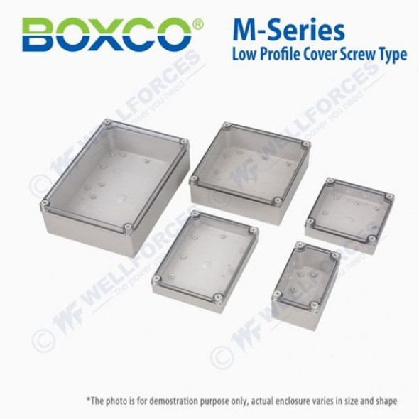 Boxco M-Series 130x130x60mm Plastic Enclosure, IP67, IK08, PC, Transparent Cover, Screw Type