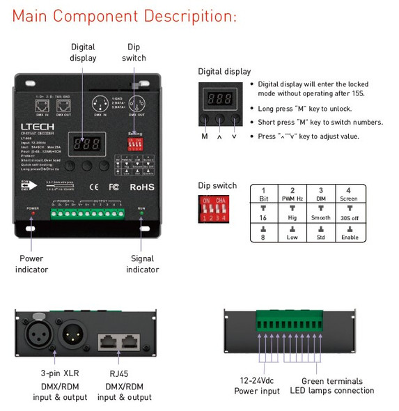 Ltech LT-905 Constant Voltage Decoder - DMX/RDM