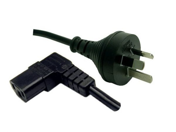 3M 3 Pin Plug to Right Angled IEC Female Connector 10A. SAA Approved Power Cord. BLACK Colour