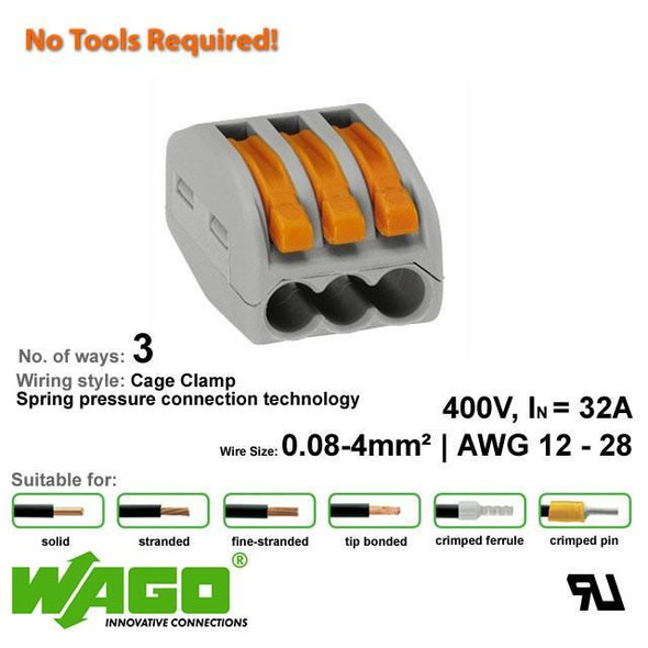 Wago 222-413 Compact Connector 3 Way - with Lever