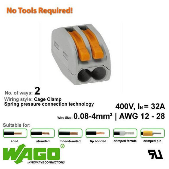 Wago 222-412 Compact Connector 2 Way - with Lever