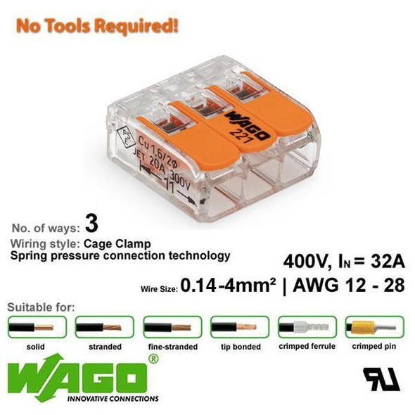Wago 221-413 Compact Connector 3 Way - Low Profile with Lever