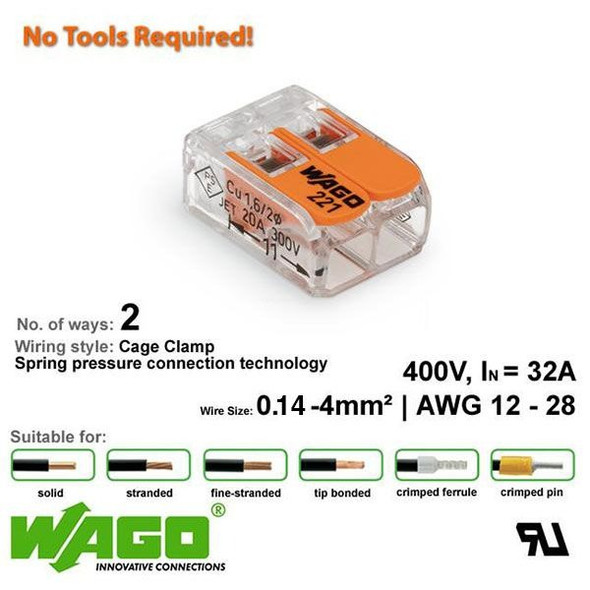 Wago 221-412 Compact Connector 2 Way - Low Profile with Lever