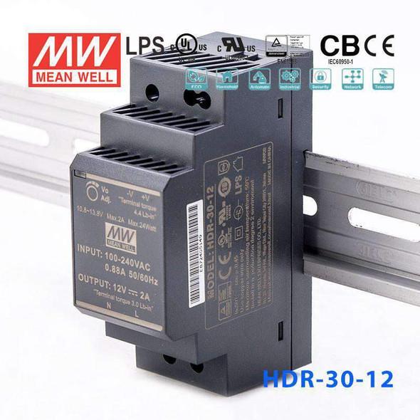Mean Well HDR-30-12 Ultra Slim Step Shape Power Supply 30W 12V - DIN Rail