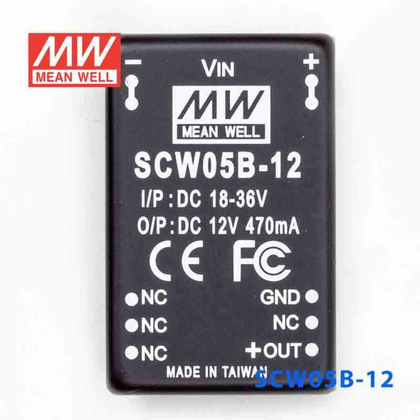 Meanwell SCW12B-05 DC-DC Converter - 12W 18~36V DC in 5V out
