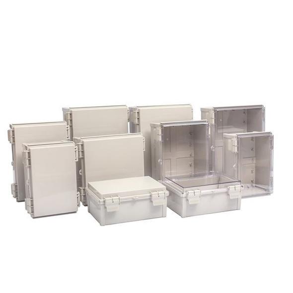 Boxco Q-Series 200×300×130mm Plastic Enclosure, IP67, IK08, PC, Grey Cover, Plastic Hinge and Latch Type
