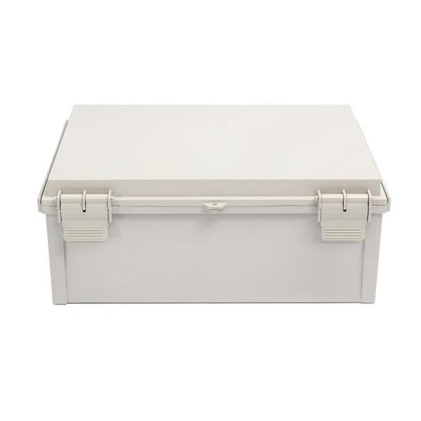 Boxco Q-Series 300×300×160mm Plastic Enclosure, IP67, IK08, PC, Grey Cover, Plastic Hinge and Latch Type