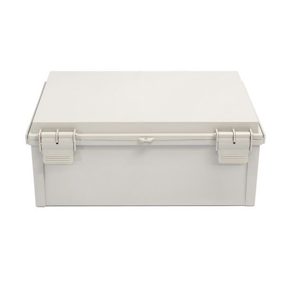 Boxco Q-Series 300×400×180mm Plastic Enclosure, IP67, IK08, PC, Grey Cover, Plastic Hinge and Latch Type