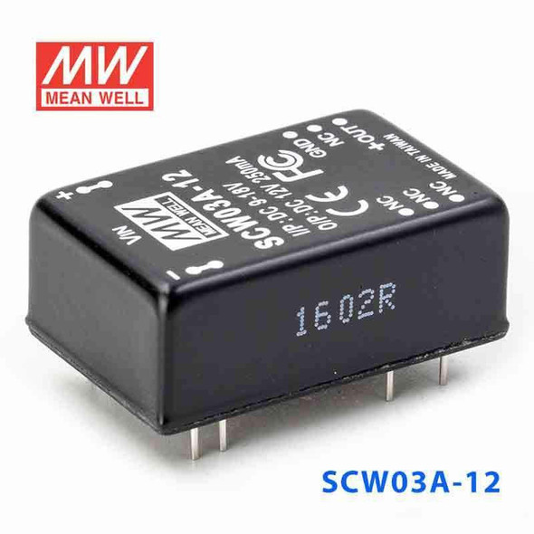 Meanwell SCW03A-12 DC-DC Converter - 3W 9~18V DC in 12V out