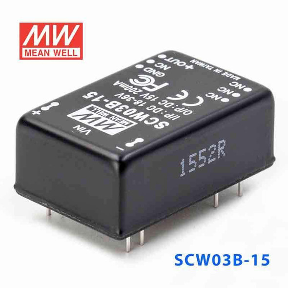 Meanwell SCW03B-15 DC-DC Converter - 3W 18~36V DC in 15V out