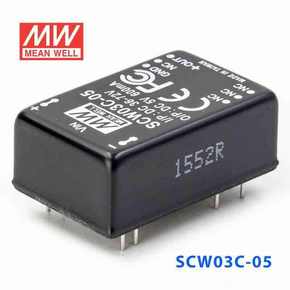 Meanwell SCW03C-05 DC-DC Converter - 3W 36~72V DC in 5V out