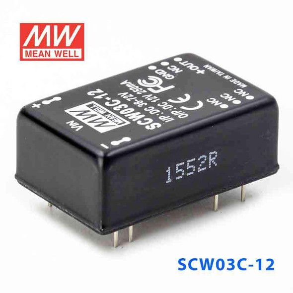 Meanwell SCW03C-12 DC-DC Converter - 3W 36~72V DC in 12V out