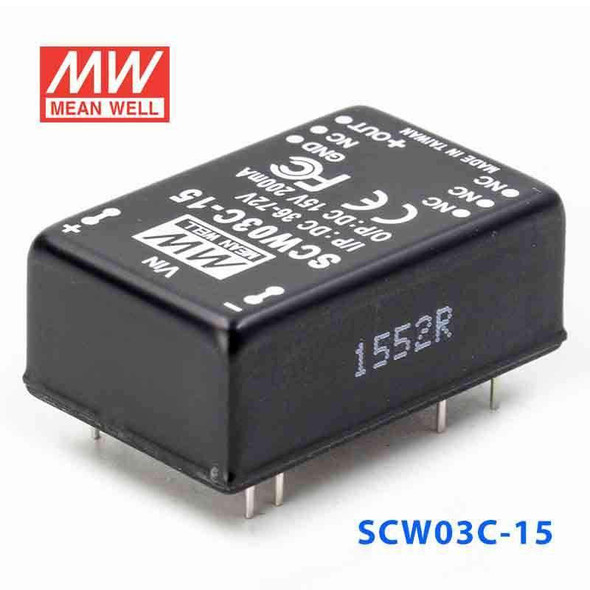 Meanwell SCW03C-15 DC-DC Converter - 3W 36~72V DC in 15V out