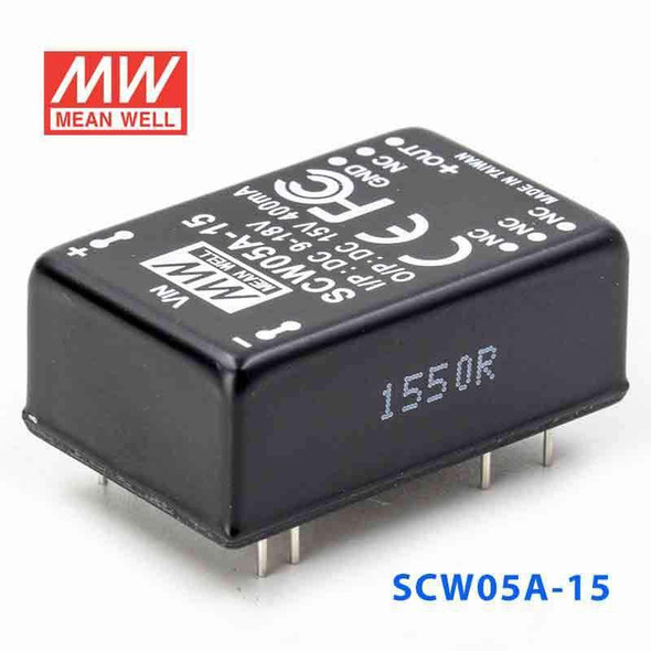 Meanwell SCW05A-15 DC-DC Converter - 5W 9~18V DC in 15V out