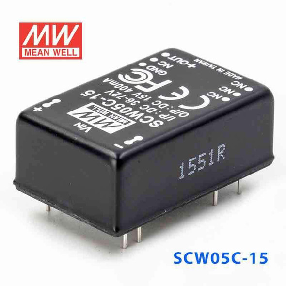 Meanwell SCW05C-15 DC-DC Converter - 5W 36~72V DC in 15V out